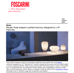 Foscarini newsletter july 2013